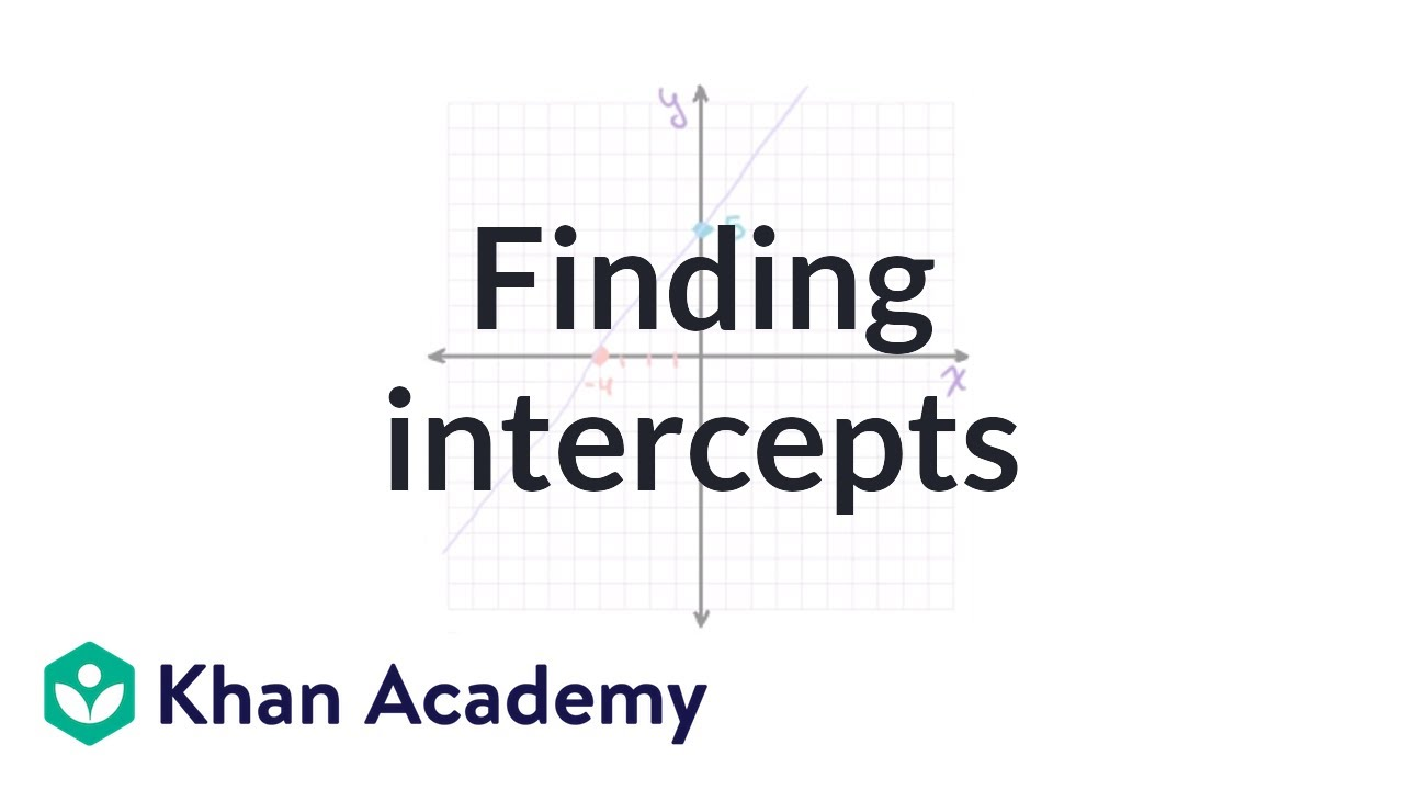 Finding Intercepts From An Equation  Algebra I  Khan Academy