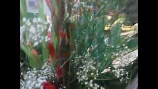 Ramo de gladiolos con paniculata, costilla de adan y helechos