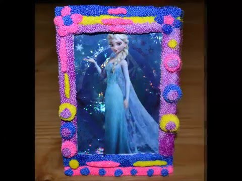 Making Your Own Disney Princesses Frozen Foam Clay Photo Frame, Cute Pictures From Elsa And Friends