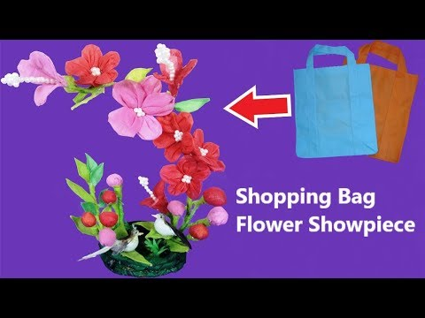 Handmade Flowers Showpiece using Waste Shopping Bags    Shopping Bag Flower Showpiece