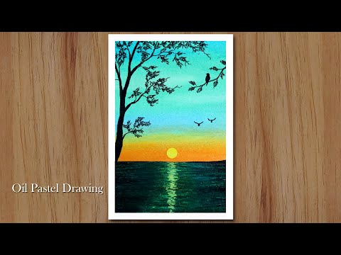 How to draw Sunset Nature Landscape step by step, Oil Pastel Drawing for Beginners
