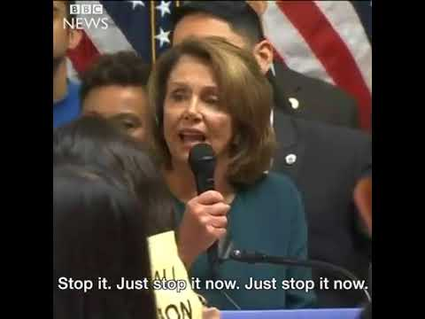 House Democratic Leader Nancy Pelosi struggles to control protesters unhappy that she's held talks w