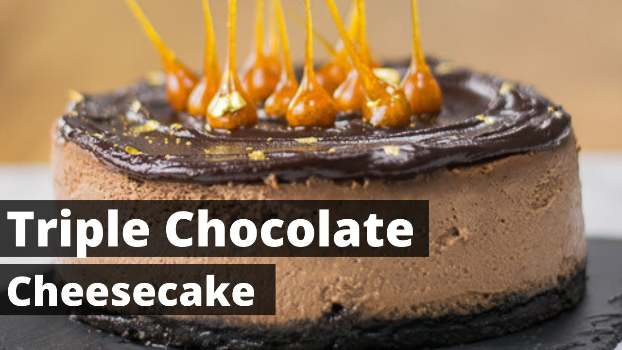 triple chocolate cheesecake mit karamellisierten haselnuss tropfen youtube. Black Bedroom Furniture Sets. Home Design Ideas