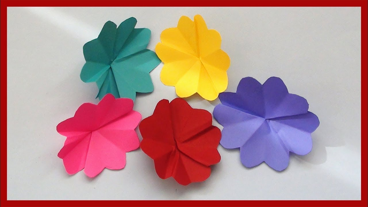 How To Make Simple Paper Flowers Easy Paper Crafts For Kids Youtube