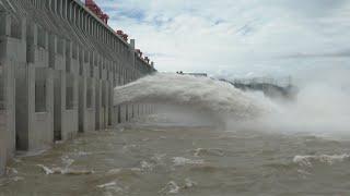 Three Gorges Dam discharges water