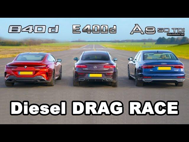 BMW 840d v Mercedes E400d vs Audi A8 50 TDI - Diesel DRAG RACE, ROLLING RACE & BRAKE TEST