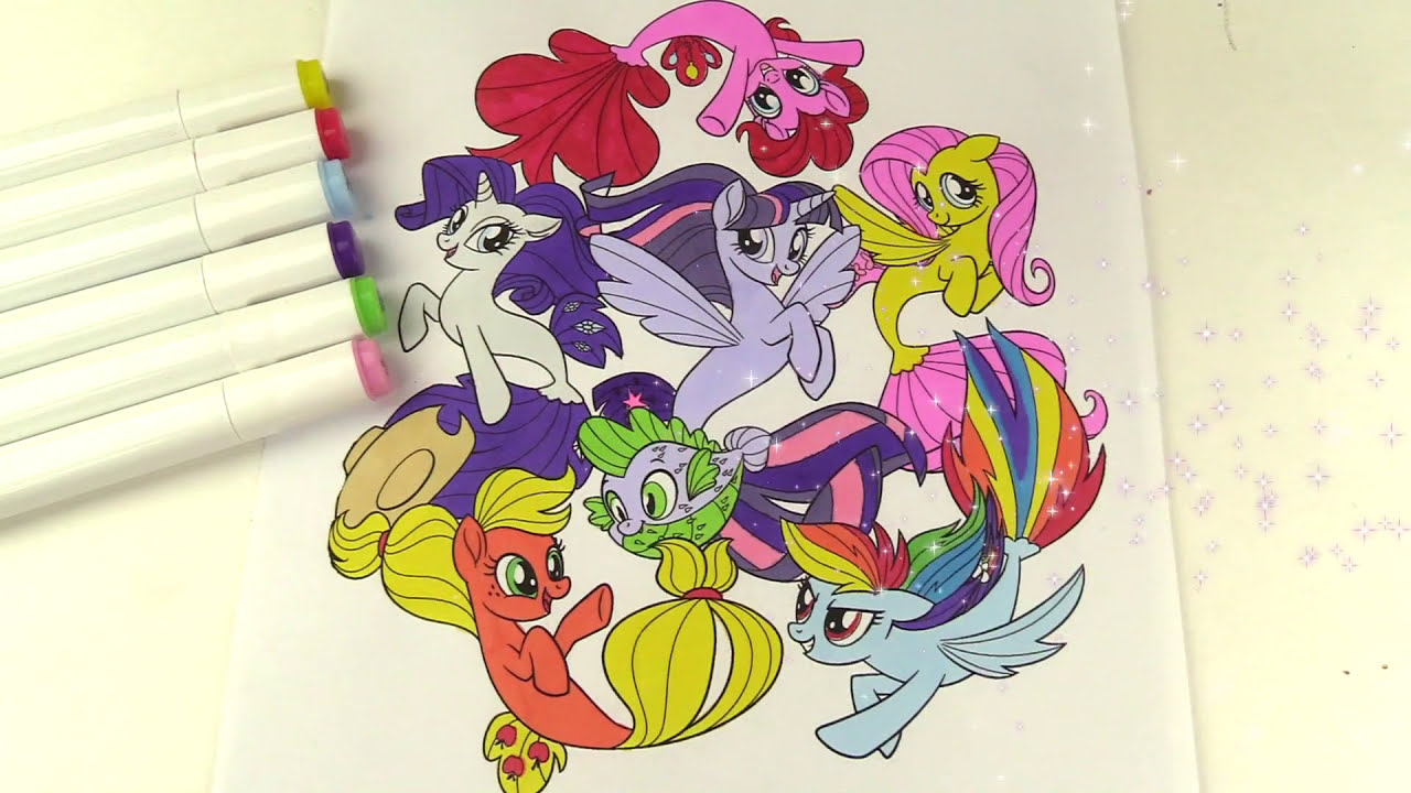 My Little Pony Movie Coloring Book Pages Sea Ponies Mane 6