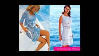 Летние вязаные платья спицами и крючком