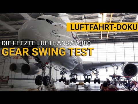 Lufffahrt-Doku: Gear Swing des letzten Lufthansa Airbus A380 D-AIMH. Fahrwerk-Test vor dem Abflug.