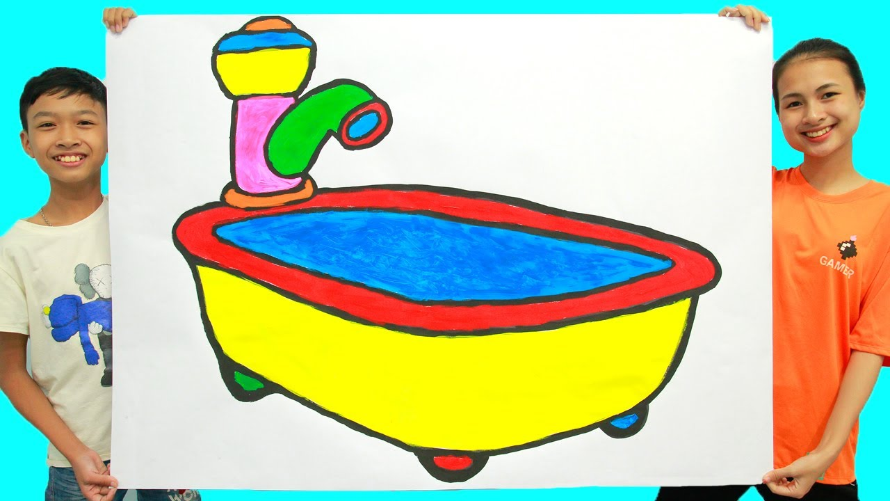 menggambar dan mewarnai bak mandi untuk anak