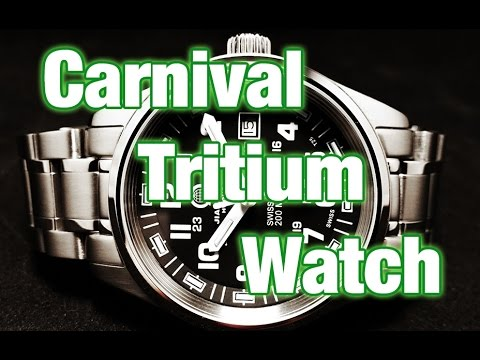 Carnival military style tritium Watch - Review, Measurements and Tritium