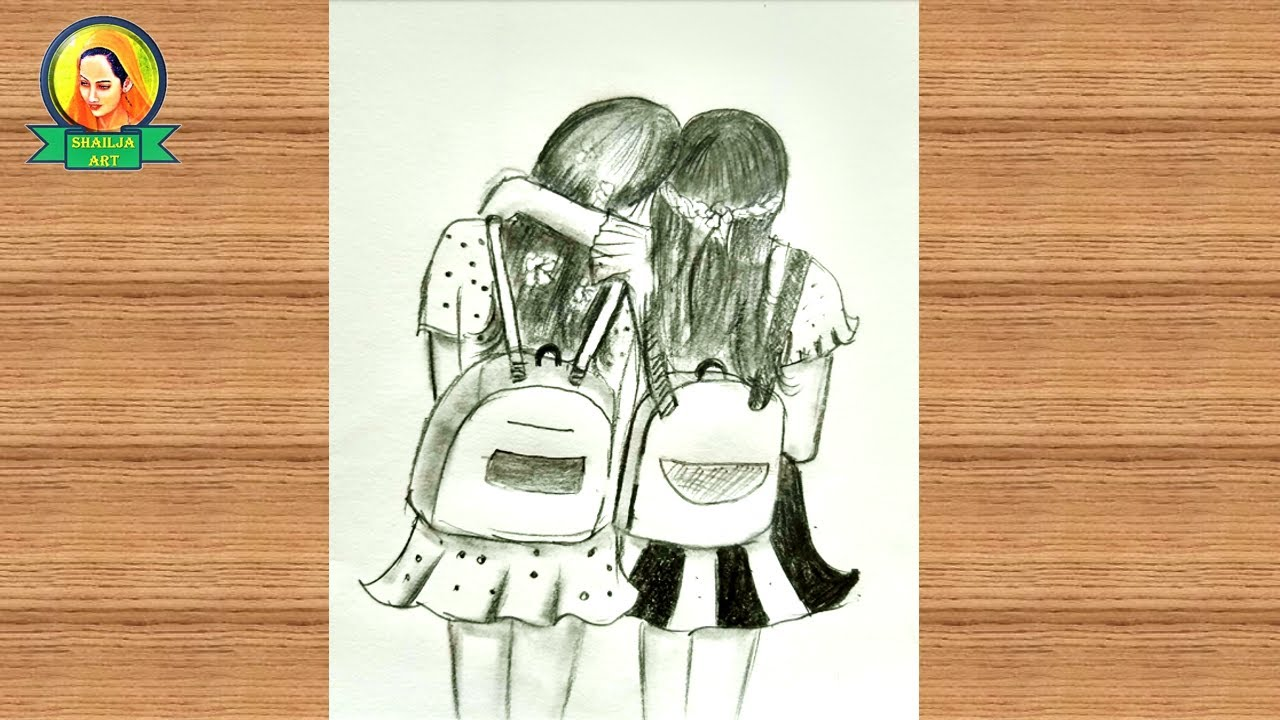 Best friends pencil Sketch Tutorial | How To Draw Two ...