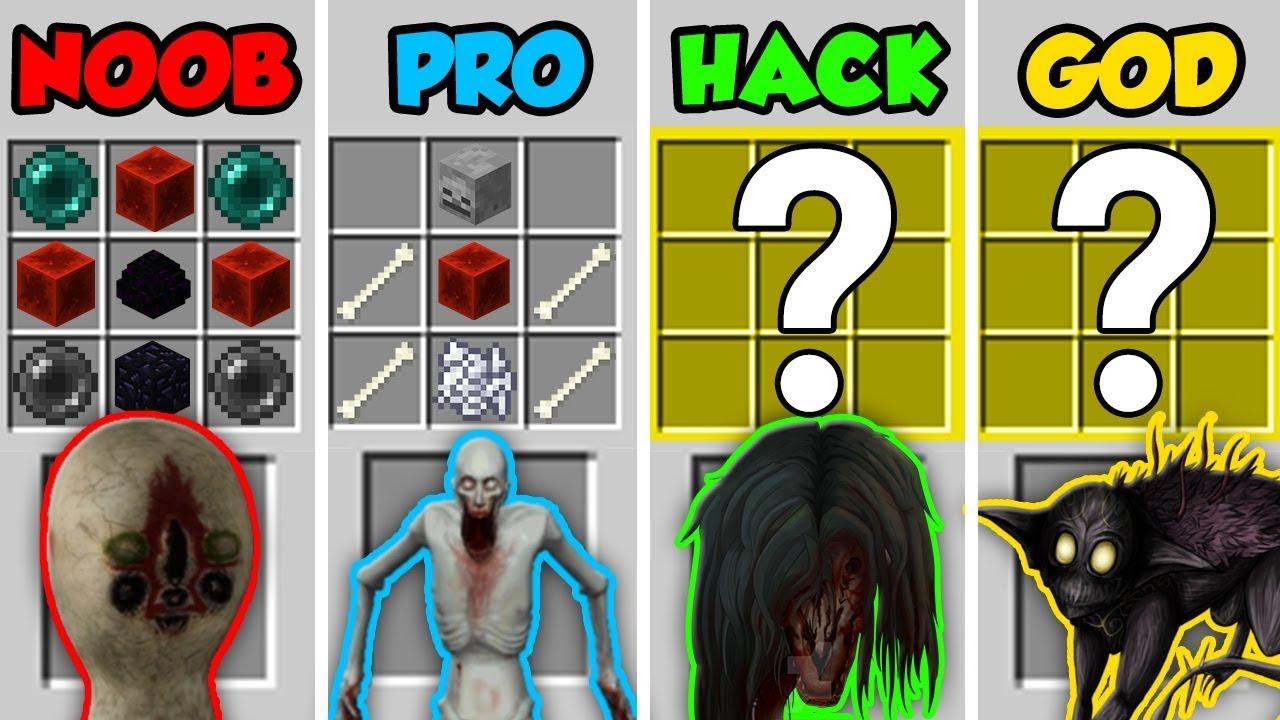Minecraft Noob Vs Pro Vs Hacker Vs God Scp Horror Mobs
