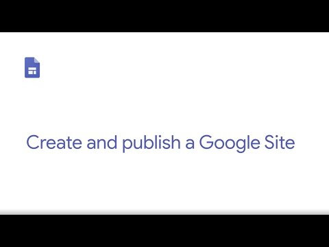 Create and publish a Google Site