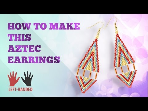 Left-handed ★ How to make these Aztec Earrings | Seed Beads