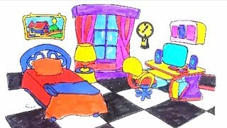 Bedroom coloring with Table, Chair, Computer and Watch Coloring Pages  How to draw bedroom for kids
