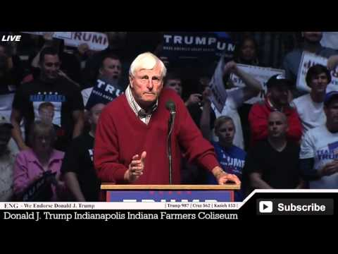 Bobby Knight Coach Introduce Donald Trump at Indiana Indianapolis Rally AMAZING Endorsement Speech ✔