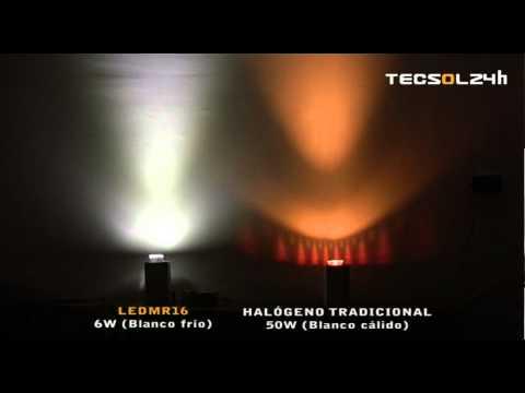 Foco ledmr16 6w vs hal geno 50w tecsol24h youtube - Foco halogeno led ...