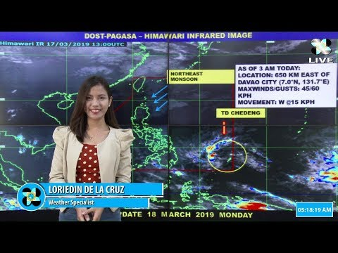 """Press Briefing:Tropical Depression """"#ChedengPH"""" Monday, 5 AM March 18, 2019"""