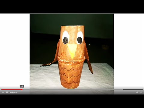 How to make owl using paper cups!!! Learn owl craft for kids