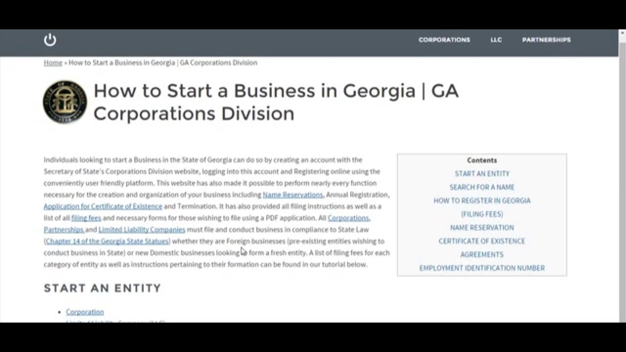 How To Start A Business In Georgia Ga Corporations Division Youtube