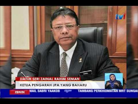 Datuk Seri Zainal Rahim Seman Ketua Pengarah Jpa Yang Baharu 16 Jan 2017 Youtube