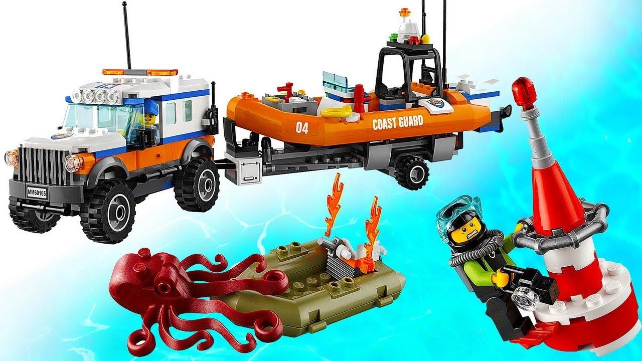 Лего Сити Отряд Спасателей - Джип полный привод с прицепом и Моторной Лодкой LEGO City 60165