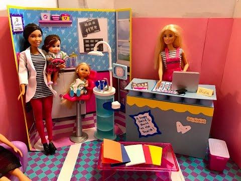 Barbie DENTIST!! Ally SCARED!! MEAN Riley!!