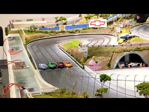 Racing on a GIANT Realistic Slot Car Track Speedway Raceway. Motorized Hot wheels Race.