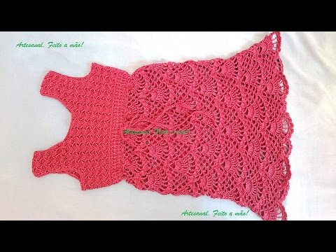 42a56327e8cf Vestido infantil em croche parte 3 - YouTube