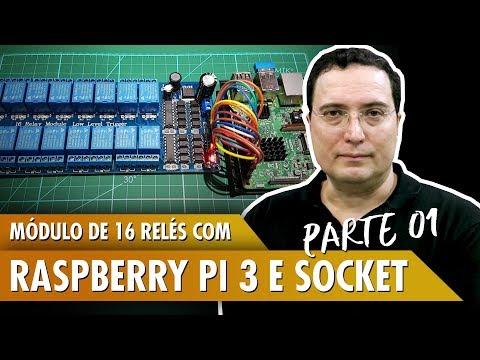 Módulo de 16 relés com Raspberry Pi 3 utilizando Socket