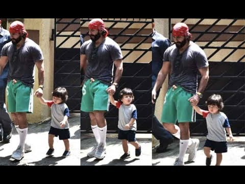 Cute Taimur Ali Khan Snapped Chilling With Dad Saif Ali Khan Outside His House Mp3