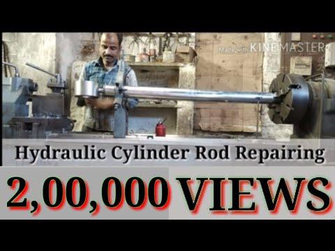 hydraulic cylinder rod repairing हाइड्रोलिक सिलेंडर रोड रिपेयरिंग वर्क (लेथ मशीन एण्ड वेल्डिंग वर्क)