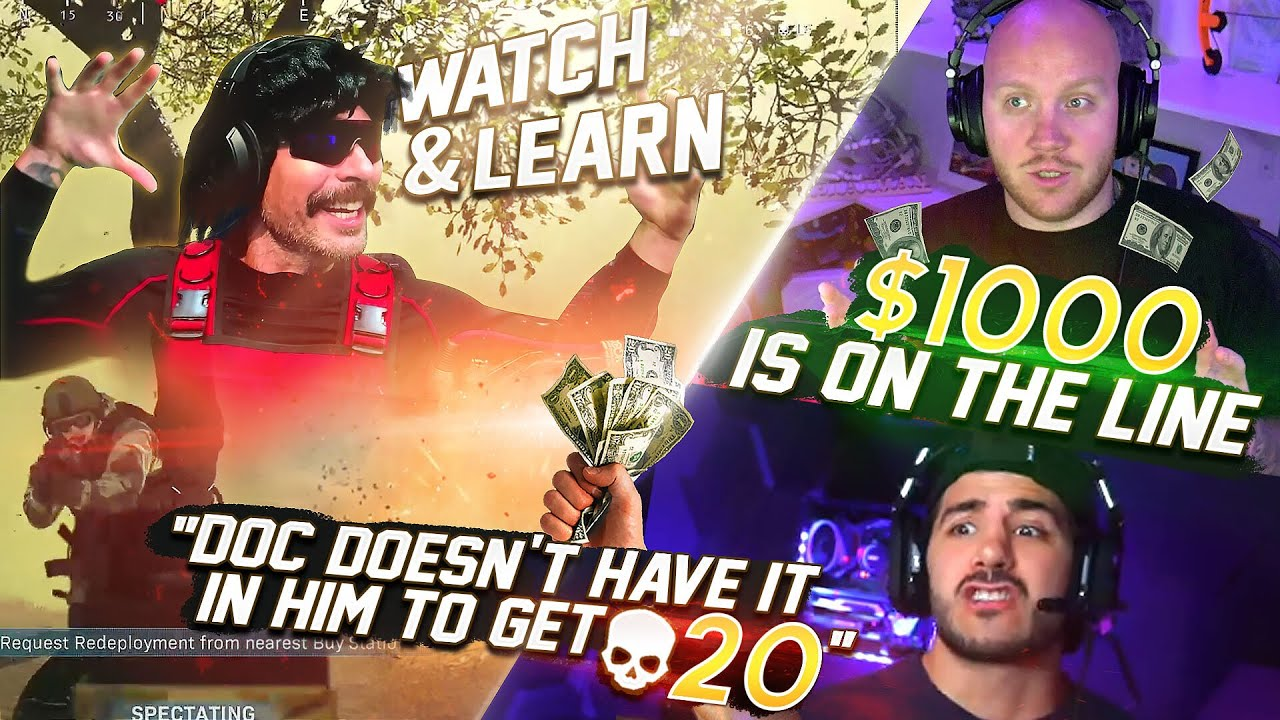 WE BET DR. DISRESPECT $1000 HE COULDNT GET 20 KILLS...