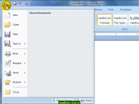 Hướng dẫn sử dụng Word 2007 - Bài 1 Tạo mới và Lưu văn bản