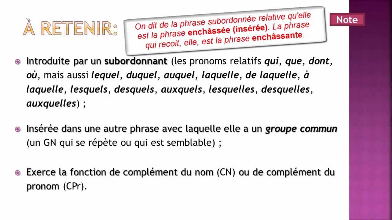 Tutoriel - La phrase subordonnée relative (notions de base ...
