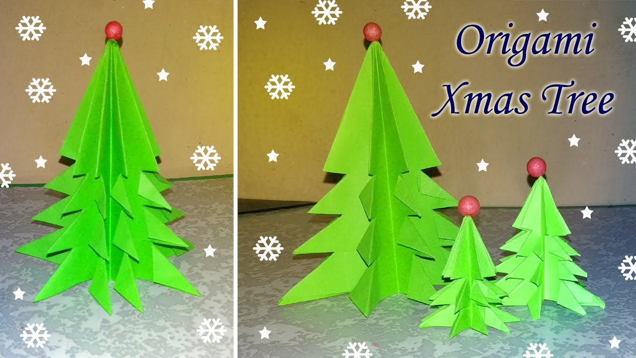 Origami Xmas tree | How to make Christmas tree with color paper ...