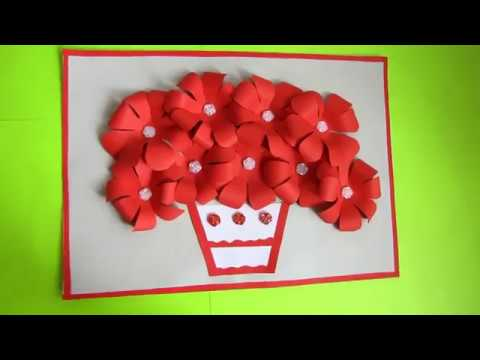 DIY Flower Bouquet Pop up Card-Paper Crafts-Handmade Craft. Paper Wall Hanging