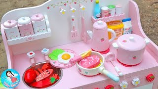 คุณแม่ทำกับข้าว ของเล่นเครื่องครัว ของเล่นไม้ ของเล่นทำอาหาร ครัวไม้ สไลม์ Play Doh สกุชชี่