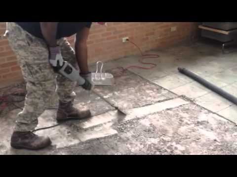 Removing Thin Set From Terrazzo Flooring Youtube