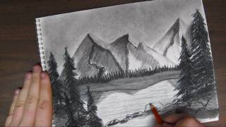 How to Draw a Mountain Landscpape tutorial Pt 3 of 3