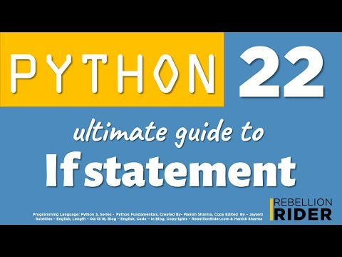 Python tutorial 22: The Ultimate Guide To Python If statement by Manish Sharma thumbnail