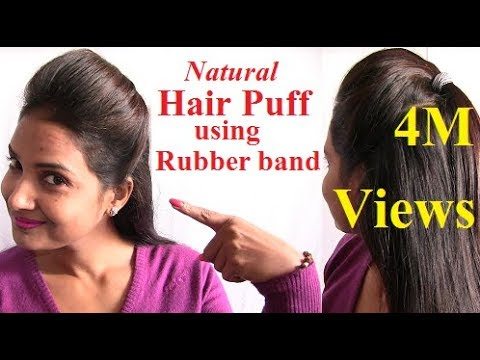 Natural Way To Make Hair Puff Style With Rubber Band At Home YouTube