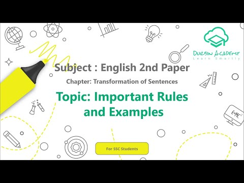 30  English 2nd Paper SSC   Transformation of  Sentences   Important Rules and Examples