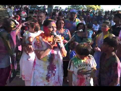Prime Minister  Kamla Persad-Bissessar celebrations Phagwa at Palmiste Park, Trinidad