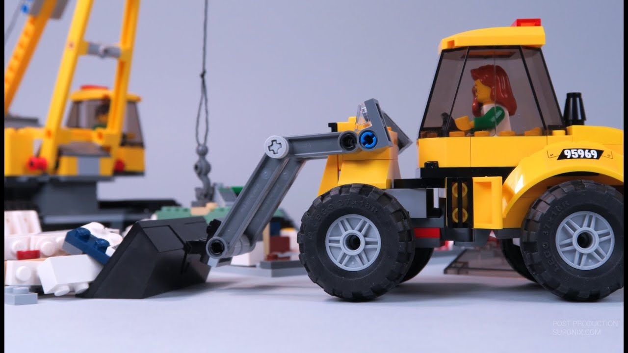 Video cartoons for kids lego city animation car tractor