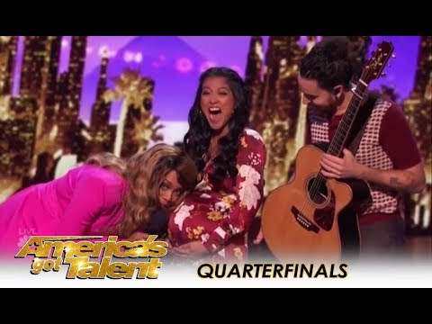 Us The Duo: Lovely PREGNANT Couple Feature UNBORN Baby On Stage! | Americas Got Talent 2018
