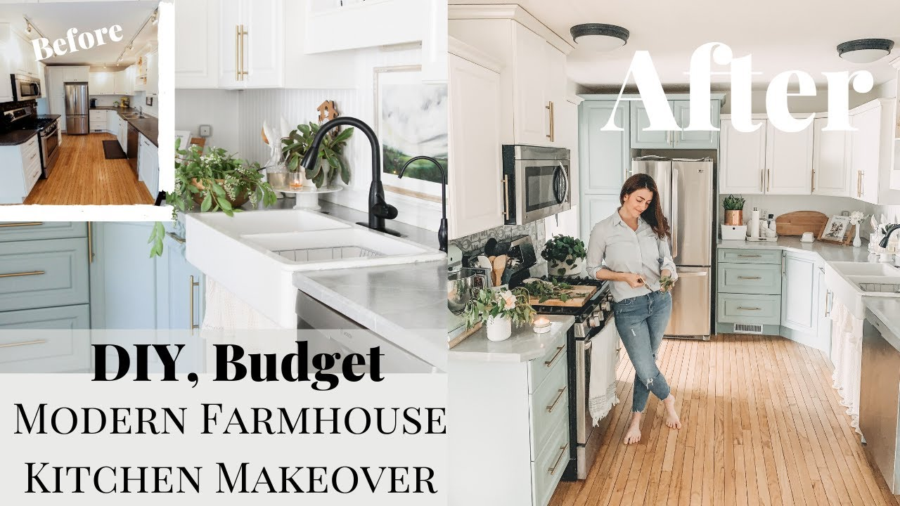 Diy Small Kitchen Makeover On A Budget Modern Farmhouse Youtube
