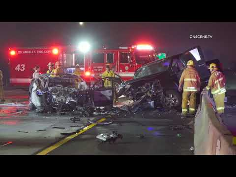 Fatal Fiery Wrong Way Freeway Crash | Los Angeles