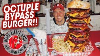 Heart Attack Grill's Octuple Bypass Burger w/ Butter Milkshake!!